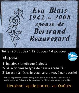 Plaque Funéraire en Granit #017