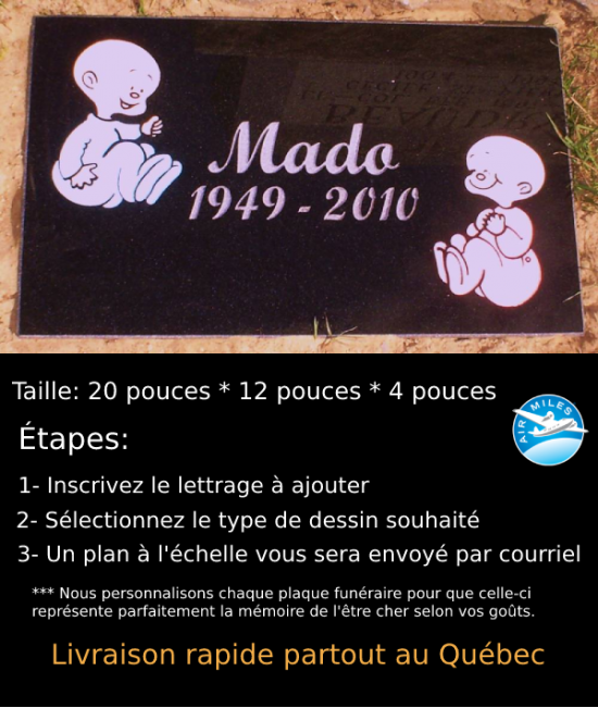 Plaque Funéraire en Granit #020
